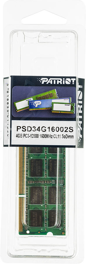 Модуль памяти SO-DDR3, 4Gb, 1600MHz Patriot PSD34G16002S